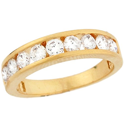 10K Yellow Gold White Cz Sparkle Eternity Band Ladies Ring