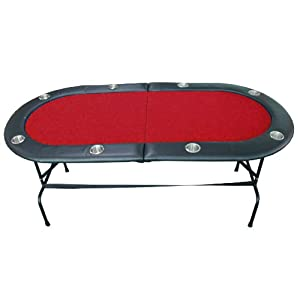 8 Player Casino Texas Holdem w  Stainless Steel Cup Holders Folding Poker Table Red by IDS