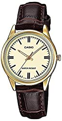 Casio Women's LTP-V005GL-9A Brown Genuine Leather Band Analog Watch