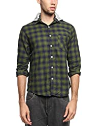 Zovi Men's Cotton Slim Fit Casual Blue & Green Shirt With Detachable Hood (12018603101)