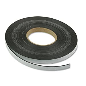 "Magna Visual Products - Magna Visual - Magnetic/Adhesive Tape, 1/2"" x 50 ft Roll - Sold As 1 Roll - Peel and stick-one side magnetic, opposite side adhesive. - Soft magnetic material will not scratch surface. - Cuts easily with scissors."