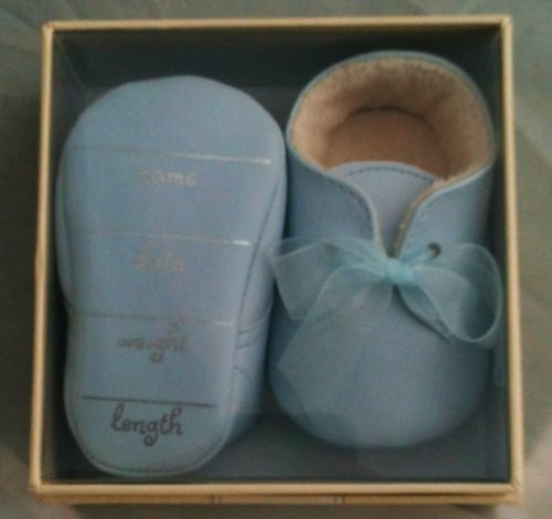 Hallmark Signature Blue Baby Boy Shoes Birth Stats Memento Gift
