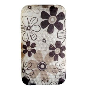 Clear with Brown Daisy Flower Diamond Design Soft Crystal TPU Candy Skin Gel Cover Case for Apple Iphone 3g 3gs