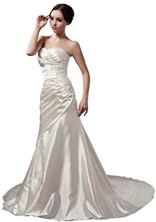 GEORGE BRIDE Simple Surplice Bodice Chiffon Beach Wedding Dress Size 2 Ivory