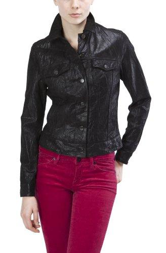 United Face Womens Leather Trucker Jacket, Black, Medium