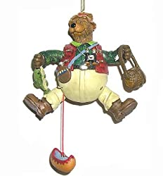 "5"" Fishing Hunting Pull Toy Bear Christmas Ornament"