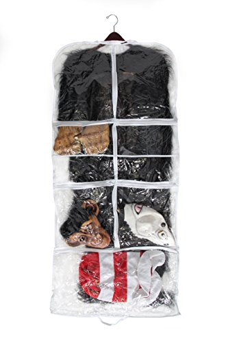 "54"" Clear Garment Bag for Clothing or Costumes, 5 Front and 3 Back Pockets By Bags for LessTM"