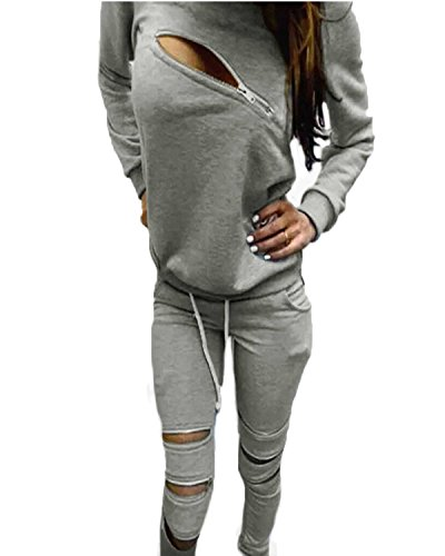 ZANZEA Donna Tuta Da Ginnastica Pantaloni Zip Zipper Top Hoody Jogging Giacca Fitness Grigio IT 44/US 12