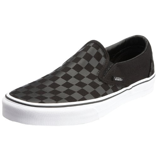 Vans Unisex Classic Slip-On (Checkerboard) Black/Black Skate Shoe 9 Men US / 10.5 Women US