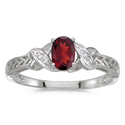 0.48 Carat Ctw 10K Gold Oval Red Garnet & Diamond Crossover Infinity Antique Promise Fashion Ring - White-Gold, Size 7.5
