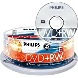 PHILIPS DVD+RW 4.7 GB Data / 120 min. 4X Spindle de 25par Philips