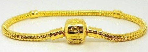 Gold Plated Love Stamped Snap Clasp Snake Chain Bracelet Fits European - 19cm