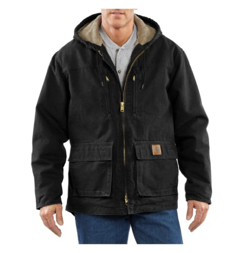 Carhartt Men's Sherpa Lined Sandstone Duck Jackson Coat, Black, Large