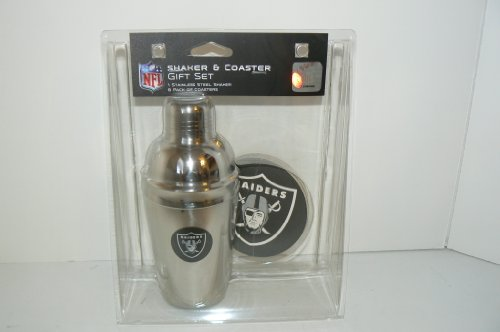 Oakland Raiders NFL Stainless Steel Cocktail Shaker and Coaster Gift Set