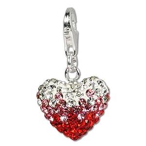 SilberDream Glitzer Charm Swarovski Kristalle Herz rot ICE Anhänger 925 Silber für Bettelarmbänder Kette Ohrring GSC002