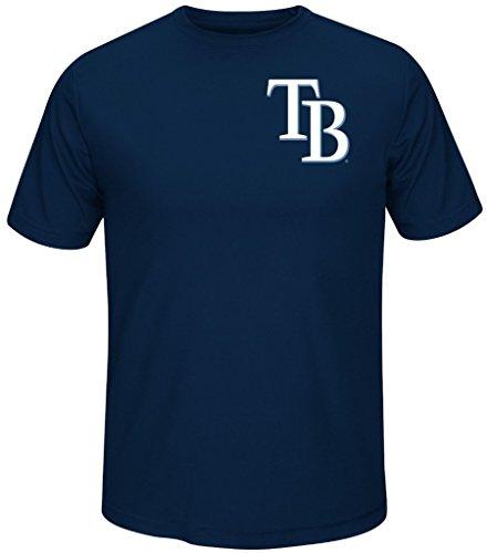 Tampa Bay Rays MLB Majestic Always Practice Mens Synthetic Crewneck Shirt Navy Blue Big Sizes (3XL)