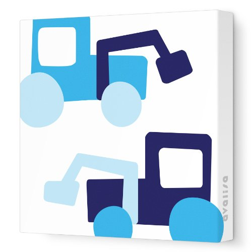 "Avalisa Stretched Canvas Nursery Wall Art, Tractor, Blue, 28"" x 28"" - 1"