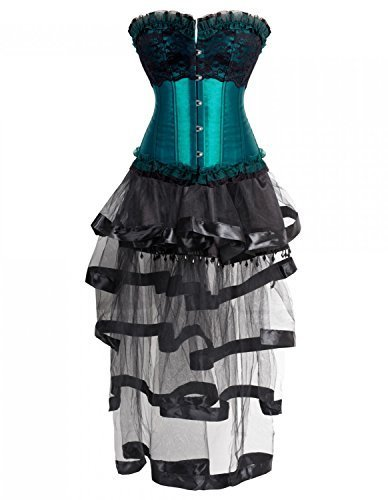 Burvogue-Womens-Gothic-Lace-Corset-Tops-with-Multi-Layered-Chiffon-Skirt-Set