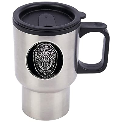 Maxam® 14oz Stainless Steel Travel Mug with Police Medallion