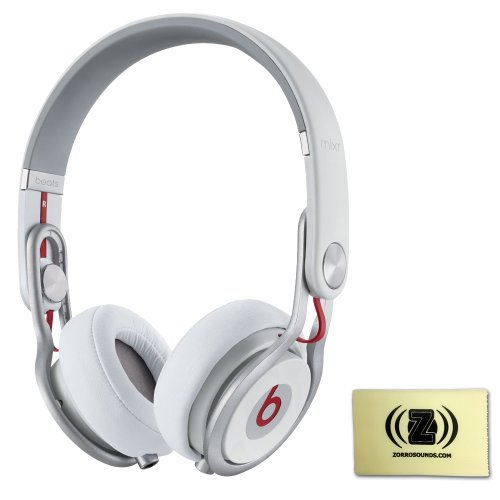 Beats By Dr. Dre Mixr High Defintion Single-Ear Monitoring On-Ear Headphones (White) Bundle With Custom Designed Zorro Sounds Instrument Cloth