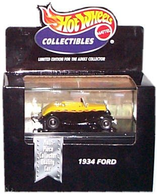 Hot Wheels Collectibles - Limited Edition Cool Collectibles - 1934 Ford (Black & Yellow) - Mounted in Collector's Display Case - 1