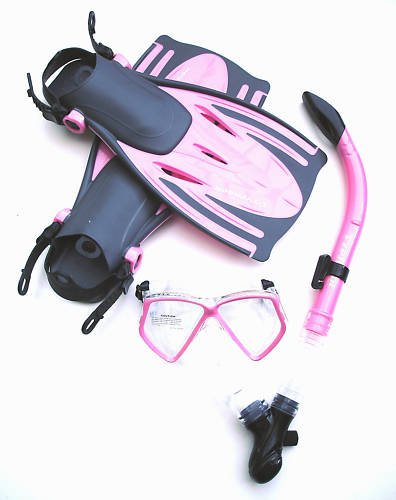 Typhoon Tjet Mask, Snorkel and Fins Set with Fin Net Bag PINK S/M