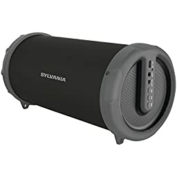 Sylvania Bluetooth Tube Speaker with Radio and Shoulder Strap (Graphite)