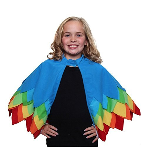 [Kids Unisex Parrot, Toucan or Bird of Paradise Style Cape with Wings] (Parrot Costume Wings)
