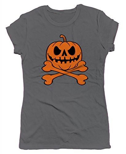 Pumpkin Skull And Crossbones Junior's T-shirt, SpiritForged Apparel, Dark Gray Small (Spirit Halloween Sf)