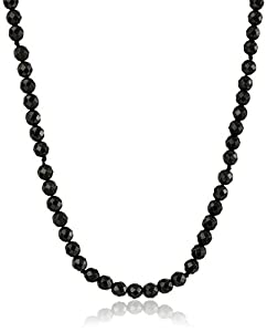 """14k Yellow Gold Filled 4mm Faceted Black Onyx Bead Necklace, 16"""" + 2"""" extender"""