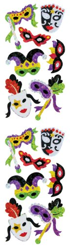 Jillson Roberts Prismatic Stickers, Masquerade Masks, Multicolor, 12-Sheet Count (S7310)