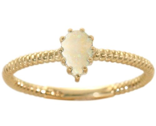 14K Yellow Gold Pear Gemstone Solitaire Stackable Ring-Opal, size8