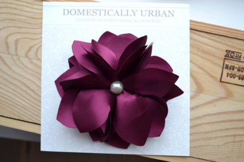 Eggplant Flower Hair Clip/brooch with Elegant Pearl Embellishment