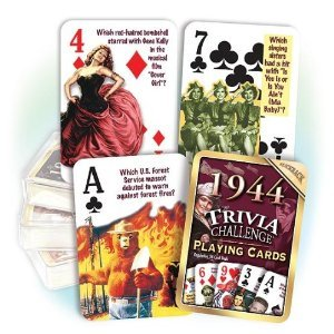 1944 Trivia Playing Cards 70th Birthday or 70th Anniversary Gift