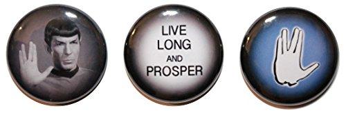 Set da 3, Mr. Spock, Star Trek Button badge (25 mm), MADE IN UK, motivo a bottone, Zombie