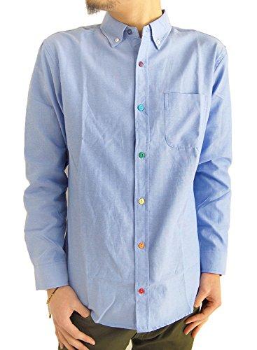 (アーケード) ARCADE メンズシャツ 選べる10タイプ オックスフォード ボタンダウンシャツ カラーボタン 長袖 白シャツ L サックス(カラーボタン)