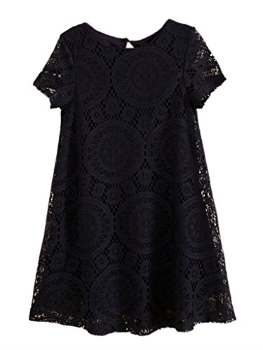 Am Clothes Womens Loose Short Sleeve Hollow Out Lace Mini Base Dress Small Black front-551103