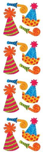 Jillson Roberts Prismatic Stickers, Mini Party Hats, 12-Sheet Count (S7078)