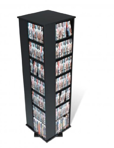 Prepac Black 4-Sided Large Spinning Media (DVD,CD,Games) Storage Tower