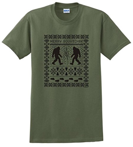 Ugly Christmas Sweater Sasquatch T-Shirt Xxxx-Large Military Green