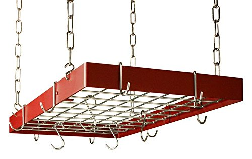 The Gourmet Rectangle Kitchen Pot Rack with Grid