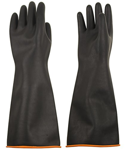 ThxToms S770R Natural Latex Chemical Resistant Gloves, Strong Acid, Alkali and Oil Resistant, 18