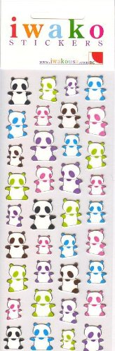 Japanese Iwako Panda Crystal Stickers Sheet - 1