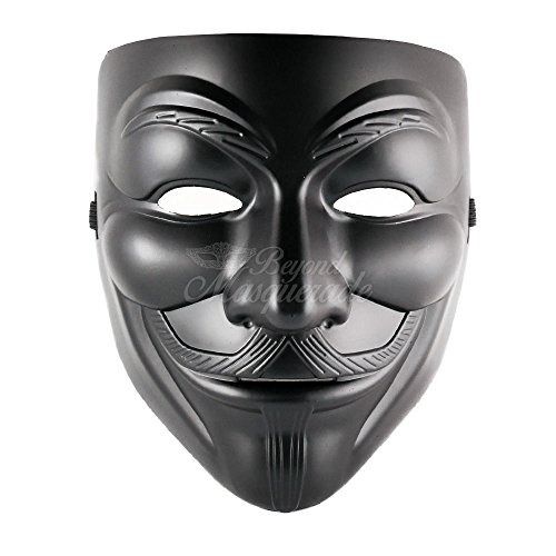 5starservice New Black V for Vendetta Anonymous Masquerade Custome Guy Fawkes Mask