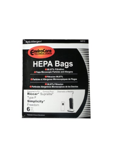6 Riccar HEPA Type F Vacuum Bags, Simplicity, Freedom, Supralite, Canister Vacuum Cleaners, RSLH-6, SF-6, RSL1, RSL1A, RSL1AC, RSL3C, RSL2, RSL3, RSL4, RSL5, RSL5C, SLPLUS, RFH-6, F3500 (Vacuum Cleaner Bag Riccar compare prices)