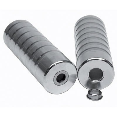 Black Ops BMX Alloy Jumbo Axle Pegs, Lead Foot, 33mm Diameter, 3/8 Or 14mm Axle, Silver