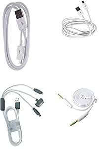 GLIM Combo Of 1 Meter V8 White & 3 METER MICRO USB CABLE & 3-IN-1 CHARGING CABLE & AUX CABLE