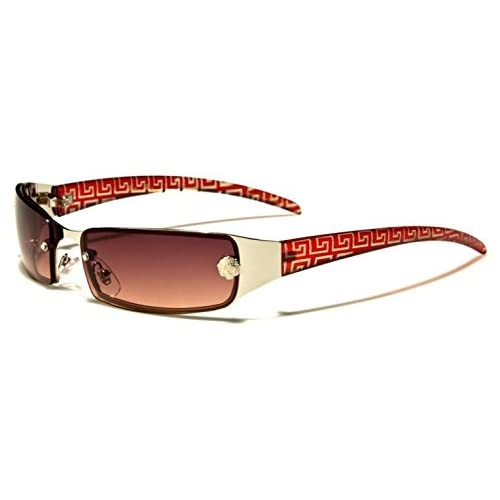 Leo Eyewear - Ladies Womens Silver Metal Slim Wrap Around 'Chelsea' Fashion Sunglasses with Rectangle Frame &...