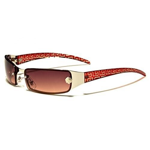 Leo Eyewear - Ladies Womens Silver Metal Slim Wrap Around 'Chelsea' Fashion Sunglasses with Rectangle Frame &...