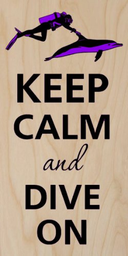 Keep Calm And Dive On Diver & Dolphin - Plywood Wood Print Poster Wall Art front-1051486